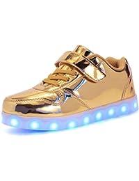 Kauson LED Zapatos Verano Ligero Transpirable Impermeable Bajo 7 Colores USB Carga Luminosas Parpadeo Deporte de Zapatillas con Luces Los Mejores Regalos para Niños Niñas Cumpleaños de Navidad