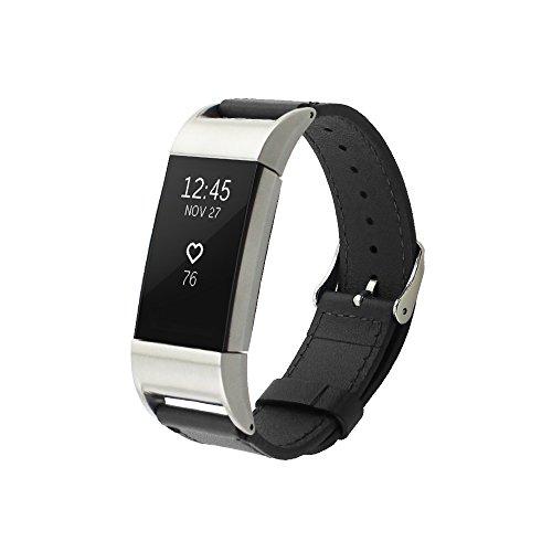 Pinhen Fitbit Charge 2 Armband Leder Gliederarmband Charge 2 Double Buckle Cuff Lederarmband Bracelet für Fitbit Charge 2 (Black)