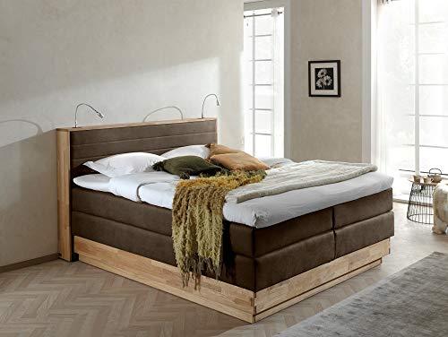 moebel-eins MENOTA Boxspringbett mit Bettkasten, massivem Holzrahmen und Bezug im Vintage Look, 180 x 200 cm, braun, Härtegrad 2+3