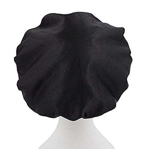 New Dilly's Kollektionen Mikrofaser-Duschkappen - Luxus-Haarschutz - Konserven Haarbehandlung - Schützt Haare vor Frizz - Schützen Sie Ihre Ausbrüche - Haltbar - Schwarz Duschhauben Erwachsene/Teen