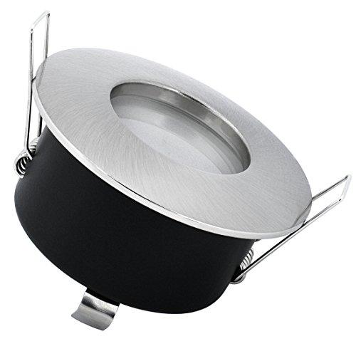 LED Einbau-Strahler für Bad, Feuchtraum IP65, Einbau-Leuchte RW-1 Edelstahl gebürstet rund, 6W COB warm-weiß, GU10 230V -