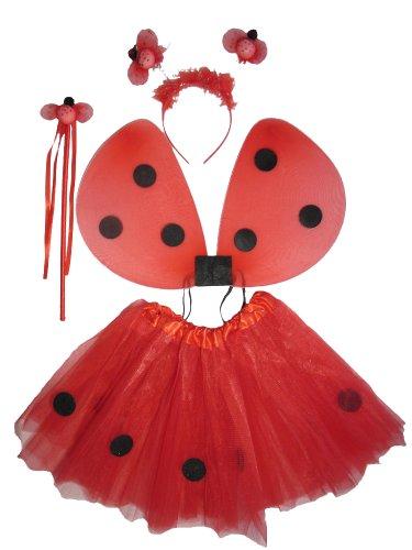 Marienkäfer Mädchen Kostüm Kleinkind - Tante Tina - Marienkäfer Kostüm für Mädchen - 4-teiliges Set- Feenflügel / Schmetterlingsflügel - One Size