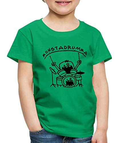 Monster Drummer Kinder Premium T-Shirt, 122/128 (6 Jahre), Kelly Green