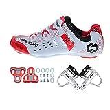 SIDEBIKE Radfahren Schuhe mit Pedalen & Pedalplatten, Rennrad Schuhe für Erwachsene, Atmungsaktive Nylon Windabweisende Fahrradschuhe Kunstleder (45)