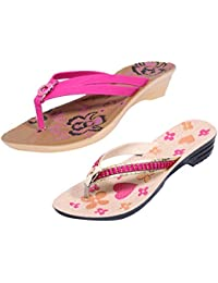 Indistar Women Comfortable Flip Flop House Slipper And Sandal-Cream/Pink/Brown+Pink- Pack Of 2 Pairs