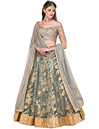 Gloxi Fashion Women's Net Semi-Stitched Lehenga Choli (dipo grey 001_Grey_Free Size)