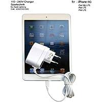 Netzteil für Apple iPhone X iPhone 8 iPhone 7 Plus iPhone SE & 6 6S 6 Plus6 5G ipad Mini iPad iPod nano 7 mit 8-Pin Anschluss. Ladegerät 110 - 240 Volt für Tablet PC i Phone 5G, ipad Mini, iPad, iPod iPod nano 7 mit Lightning 8-Pin Anschluss - Steckerlader weiss