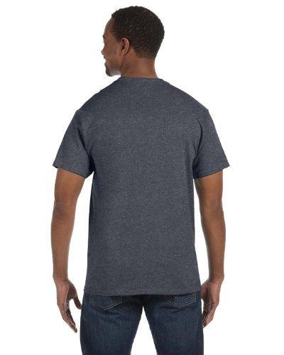Hanes HanesApparel Mens Double-Needle Seamed Neck T-Shirt Charcoal Heather