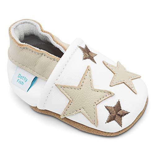 Dotty Fish weiche Leder Babyschuhe mit rutschfesten Wildledersohlen. 18-24 Monate (23 EU). Weiß mit hellbraunen Sternen. Jungen und Mädchen. Kleinkind Schuhe.