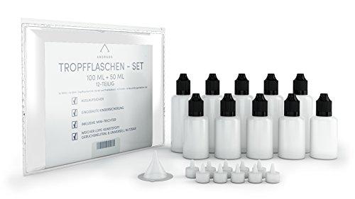 ANDRADO 10x Liquid Flaschen - 5 x 100 ml + 5 x 50ml - inkl. Trichter + Etiketten (12-tlg.) - auslaufsicher - Deckel-Kindersicherung - Flasche für Liquid, Öle (Leere Pet-flaschen)
