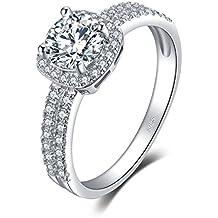 JewelryPalace Halo 1.1ct Rond Zircone Cubique fiançailles Promettre Bague en Argent 925