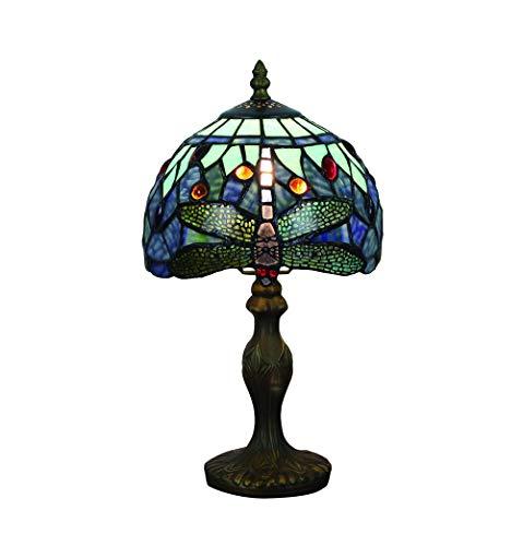Vintage Tiffany Tischlampen Blau Libelle 8 Zoll, Tiffany Tischlampe Antik Original, Glasmalerei Lampen Schlafzimmer Nacht Lampenschirme Wohnzimmer von FBOSS -