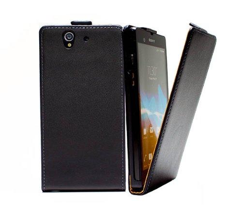 mobilefox® Robin Handy Flip Case Klapptasche mit Magnetverschluss für Sony Xperia Z L36h Schwarz - Etui Schutzhülle Cover Handytasche (Sony Xperia Z L36h Zubehör)