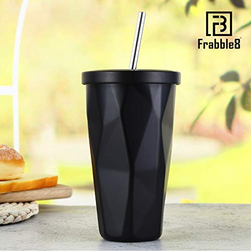 Frabble8 Double Wall 480ML Insulated Travel Stainless Steel Flask Diamond Tumbler with Steel Straw and Lid Hot and Cold Thermos Sipper - Black
