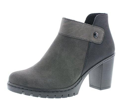 Rieker Damen Ankle Boots Y2582,Frauen Stiefel,Ankle Boot,Halbstiefel,Damenstiefelette,Bootie,knöchelhoch,Trichterabsatz 7.4cm,anthrazit/fumo/schwarz, EU 39