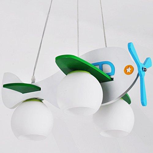Guo Kinderzimmer-Lichter Jungen-Raum-Flugzeug-Lichter Kronleuchter-Pers5onlichkeit-kreative Karikatur-Beleuchtung-hölzerne Lampen E27 Lampen-Hafen ( farbe : Weiß )