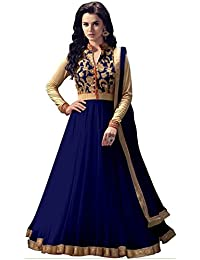 Rensila Women's Navy Blue & Beige Color Banglori Silk & Net Fabric Anarkali Salwar Suit