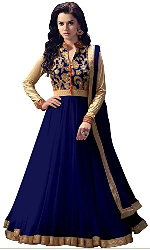 Women's Clothing Anarkali Suit Designer Party Wear Today Offers Low Price Sale Top Navy Blue Color Banglori Silk Fabric Free Size Salwar Kameez Dress