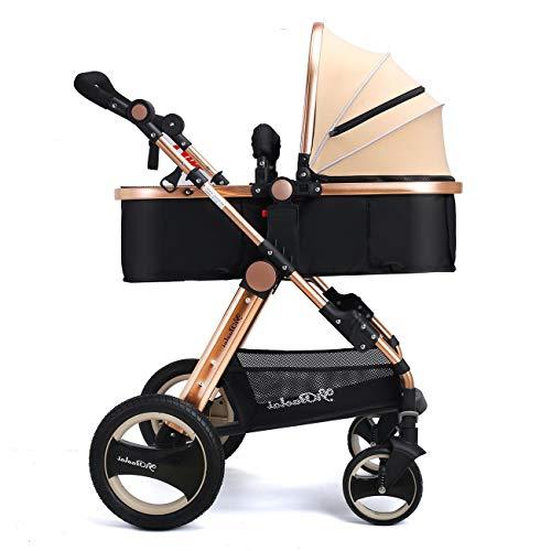 ZLMI 2 in 1 Günstige Leichte 4 Räder Kinderwagen Kinder ab Geburt Regenschirm Kinderwagen für Jungen Mädchen Kleinkinder Neugeborene Kinderwagen 0-3 bb Auto (Leichte Kinderwagen Neugeborene)