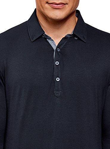 ... oodji Ultra Herren Poloshirt Aus Baumwolle mit Langen Ärmeln Blau (7975B)  ...