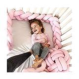 Baby Infant 2m / 3m Krippe Bumper Pads verknotet geflochten Plüsch Kindergarten Bett Sicherheit Rail Guard, Cradle Protector, Kinderbett Schlaf Stoßkissen, Knot Ball, 3-Strang, reine Farbe, Pink, 2m