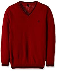 United Colors of Benetton Boys Sweater (16A1032C4047G281M_Maroon_M)