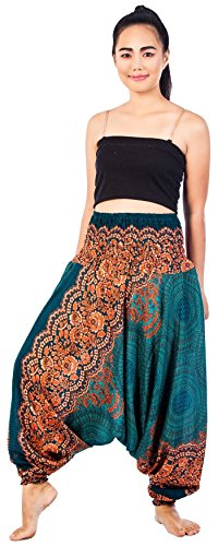 Lofbaz Women's Rose colour Peacock Harem 2 in 1 Pants and Jumpsuit Trousers