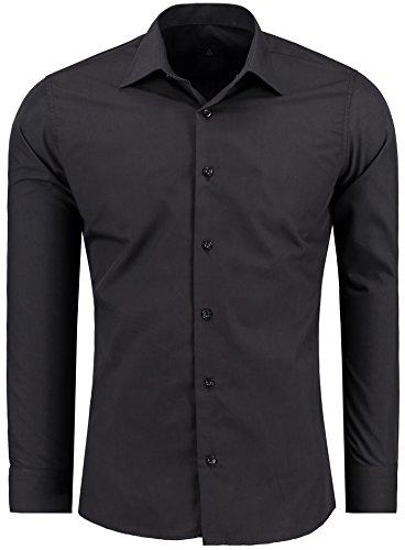 Herren-Hemd – Slim Fit – Bügelfrei / Bügelleicht – Für Business Freizeit Hochzeit – J'S FASHION - Schwarz - L