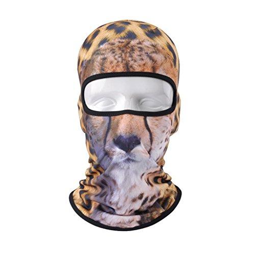 Preisvergleich Produktbild VERTAST balaclava Sturmhaube,  3d Tier aktive Kopfhaube für Skifahren Radfahren Motorradfahren Helm Liner Wandern camping Nackenwärmer,  Leopard