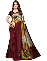 Anni Designer Sarees For Women Brown Color Art Silk Printed Saree With Blouse Piece(ANGMANCH-BROWN_Free Size)