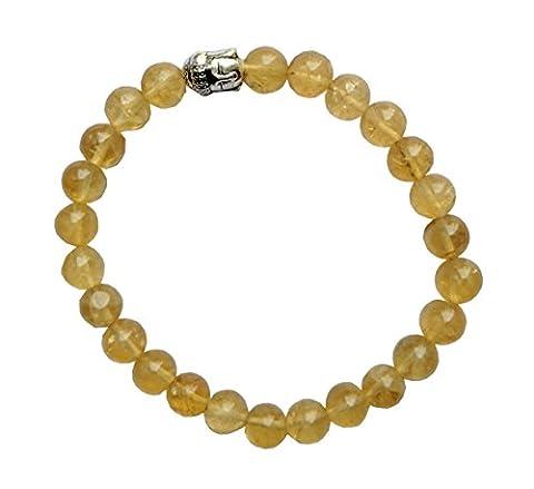 aatm Reiki energetisierte Geschenk Natur Edelstein 7–8mm Rund Perlen Buddha Perlen Citrin Edelstein Chakra Stretch Armband Unisex für Heilung (Stein von Erfolg, Überfluss an; Power, Emotionale Probleme)