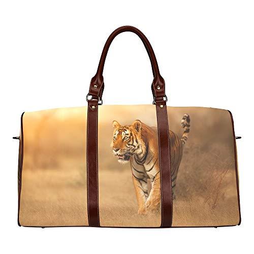 Reisetasche Bengal Tiger In Forest Show Kopf Und Bein wasserdichte Weekender-Tasche Reisetasche Frauen Damen-Einkaufstasche Mit Mikrofaser-Leder-Gepäcktasche