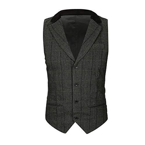 Sannysis Anzugweste Herren Herbst Winter Lässige Tasche Beston Droit Mantel Männer Plaid Knopf Jacke Draussen Britische Anzug Weste Bluse Top Coat