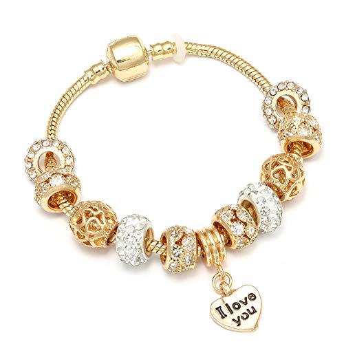 YCWDCS Armband Gold Farbe Romantische Ich Liebe Dich Charme Armbänder Mit Gold Kristall Pandora Armbänder Für Frauen Mädchen Liebhaber Schmuck Geschenk