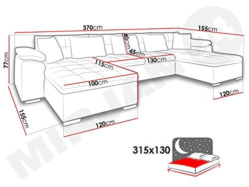 Ecksofa Wicenza Grand! Design Big Sofa Eckcouch Couch! mit Schlaffunktion Bettfunktion! Wohnlandschaft! U-Form, schmutzabweisender Stoff (Soft 017 + Granada 2725 + Amber 70) - 4