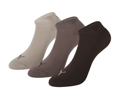 Puma Invisible Sportive Sneaker Sock (3 Pair Pack), Chocolate/Walnut/Safari, UK 2.5-5 Sock
