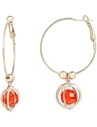 Memoir Round cage Blood RED CZ entrapped Rose Gold Plated Hoop Bali Earring