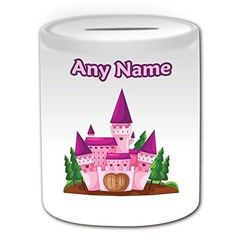 Cadeau personnalisé-Rose-Tirelire en forme de château de conte de fée