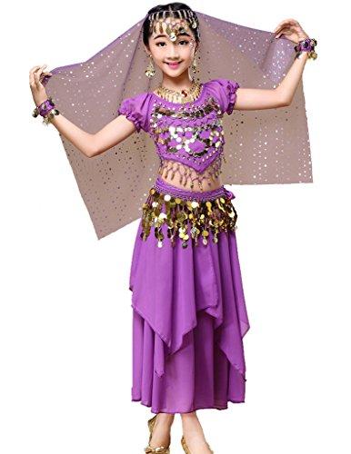 Mädchen Bauchtänzerin Kostüm Kleine Für - Astage Mädchen Kleid Bauchtanz Indianisch Halloween Karneval Kostüme L Violett