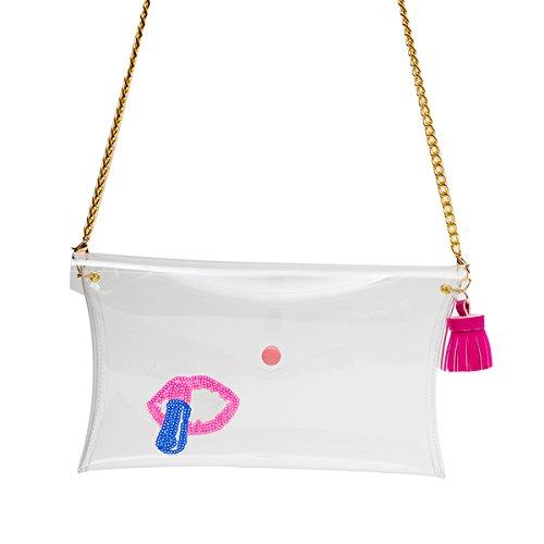 Zarapack da donna chiaro trasparente borsa frizione Wristlet catena borsa a tracolla, Style 4 (trasparente) - BA931 Style 3