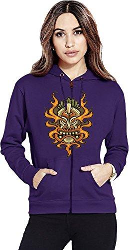 Aztec Mask Womens Zipper Hoodie X-Large