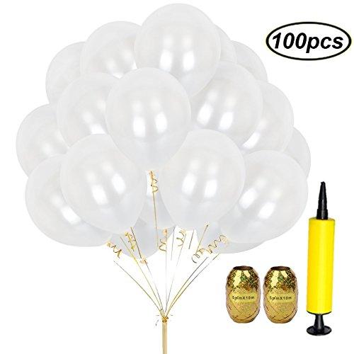 SWZY 100stücke 12zoll Weiß Ballons Runde Perle Latex Luftballons 280 gr / Beutel mit Luftpumpe und Goldenen Band (Weiße Luftballons Perle)