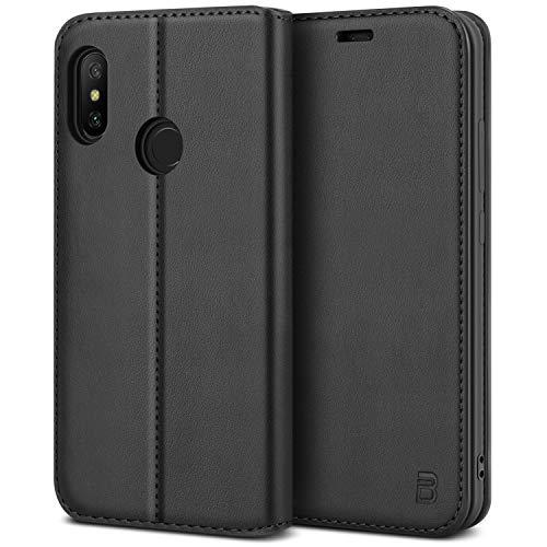 BEZ Handyhülle für Xiaomi Mi A2 Lite Hülle, Tasche Kompatibel für Xiaomi Mi A2 Lite, Schutzhüllen aus Klappetui mit Kreditkartenhaltern, Ständer, Magnetverschluss, Schwarz