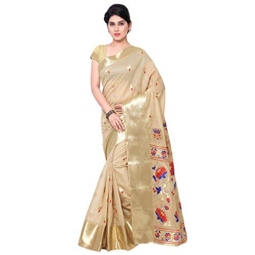 Varkala Silk Sarees Blended Saree (Mcjb5003Cmrd_Beige & Red)