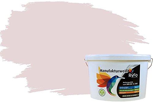 RyFo Colors Bunte Wandfarbe Manufakturweiß Rose Hell 10l - weitere Rot Farbtöne und Größen erhältlich, Deckkraft Klasse 1, Nassabrieb Klasse 1