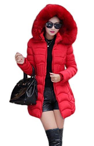 Toyobuy Manteau Grande Taille Femme Veste à Capuche Chauffant Manches Longues Mode Rouge Buste 118cm