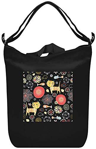 Illustrations-Katzen-Fisch-Zeichnungs-Muster - Illustration Cats Fish Drawing Pattern Canvas Day Bag Custom Printed Handbag Fashion Accessory For Men & Women