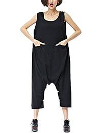 ELLAZHU Femme Sans Manche Poches Adjustable Hem Combinaisons Robe GA195 A