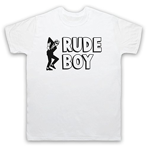 Rude Boy Jamaican Street Culture Slogan Herren T-Shirt Weis