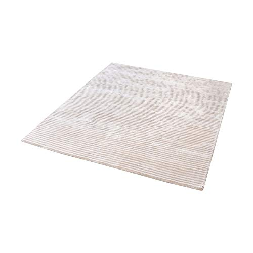 Logan Handwoven Viscose Rug In Ivory - 16-Inch Square - Ivory Square Teppich
